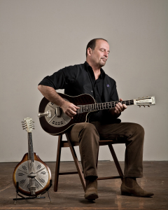 Steve James with National Reso Rocket and National mandolin